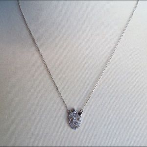 Silver Rhinestone Skull Necklace